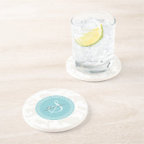 Elegant girly white floral pattern monogram drink coaster