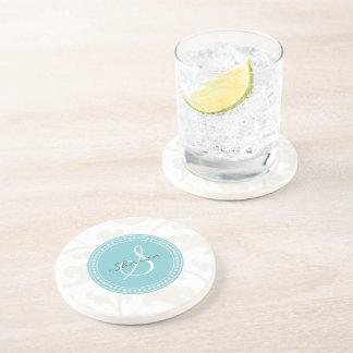 Elegant girly white floral pattern monogram drink coaster