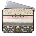 Elegant Girly White Lace And Pink Roses Computer Sleeves