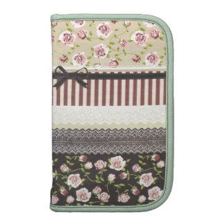 Elegant Girly White Lace And Pink Roses Folio Planners