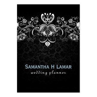 Elegant Girly White Lace On Black Damasks Large Business Cards (Pack Of 100)