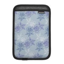 Elegant Girly White Purple Blue Floral Pattern iPad Mini Sleeve