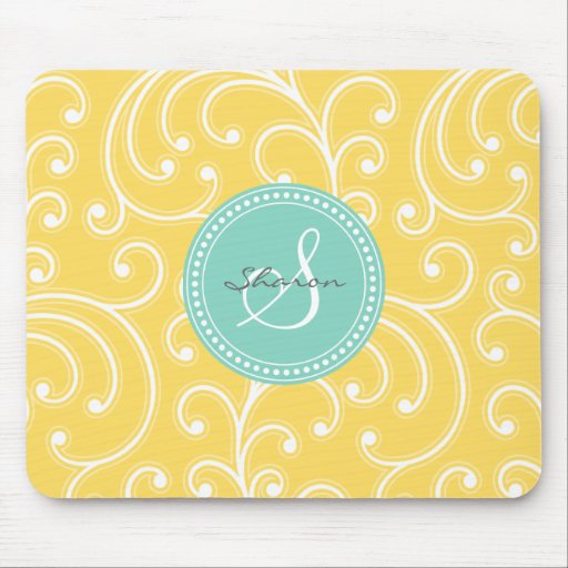 Elegant girly yellow floral pattern monogram mouse pads