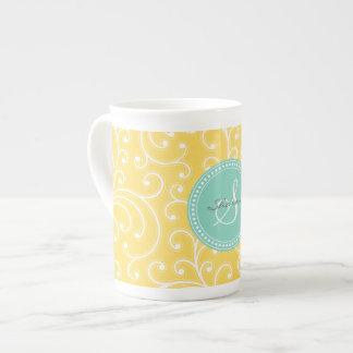 Elegant girly yellow floral pattern monogram tea cup