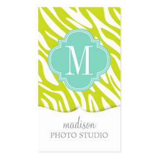 Elegant Girly Zebra Lime Turquoise Personalized Business Card