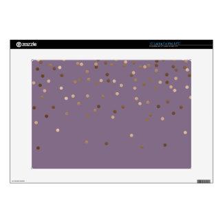 elegant glam rose gold foil confetti dots violet laptop decal