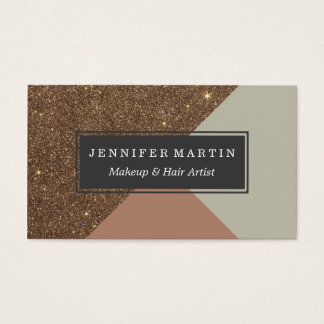 Elegant & Glamorous Faux Gold Glitter & Taupe Business Card