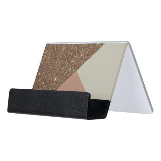 Elegant & Glamorous Faux Gold Glitter & Taupe Desk