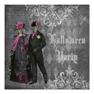 "Elegant Glamorous Skeletons Halloween Party 5.25"" Square Invitation Card"