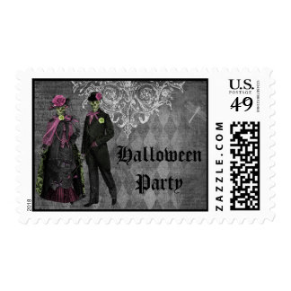 Elegant Glamorous Skeletons Halloween Party Stamp