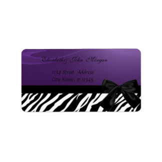 Elegant Glamorous  Stylish ,Purple ,Zebra Print Label