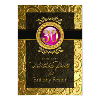 Elegant Glamour Embossed 30th Birthday Card