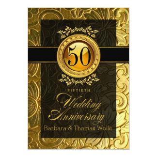 Elegant Glamour Embossed 50th Anniversary 5x7 Paper Invitation Card