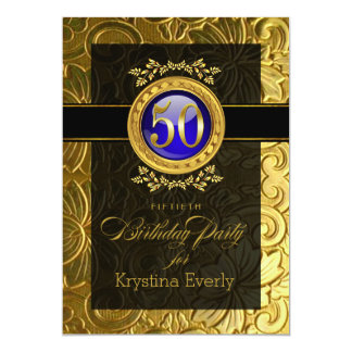 Elegant Glamour Embossed 50th Birthday Card