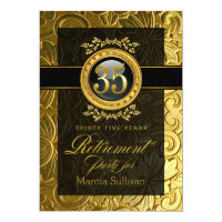 Elegant Glamour Embossed Retirement Party Card