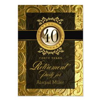 Elegant Glamour Embossed Retirement Party 5x7 Paper Invitation Card