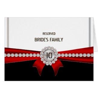 Elegant Glamour Luxury Pearls Wedding Table Number Card