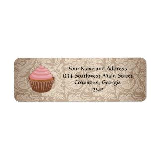 Elegant Glamour Mocha Damask Cupcake Address Label