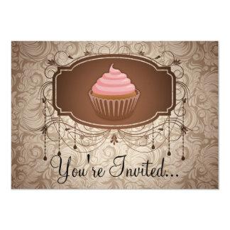 Elegant Glamour Mocha Damask Cupcake Design Card