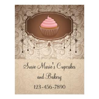 Elegant Glamour Mocha Damask Cupcake Design Custom Flyer