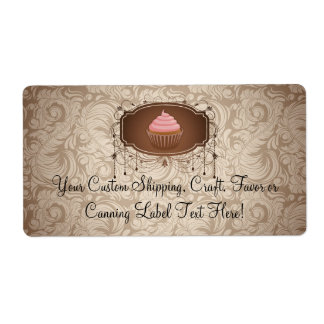 Elegant Glamour Mocha Damask Cupcake Design Label