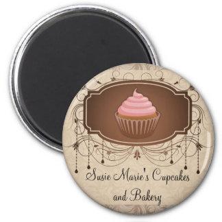 Elegant Glamour Mocha Damask Cupcake Design Refrigerator Magnet