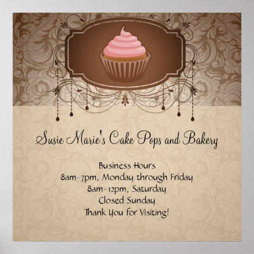 Elegant Glamour Mocha Damask Cupcake Design Sign Poster