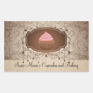 Elegant Glamour Mocha Damask Cupcake Label Sticker