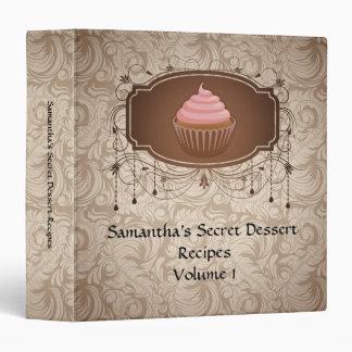 Elegant Glamour Mocha Damask Cupcake Recipe Binder