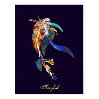 Elegant Glass Koi Fish Modern Fine Art Postcard