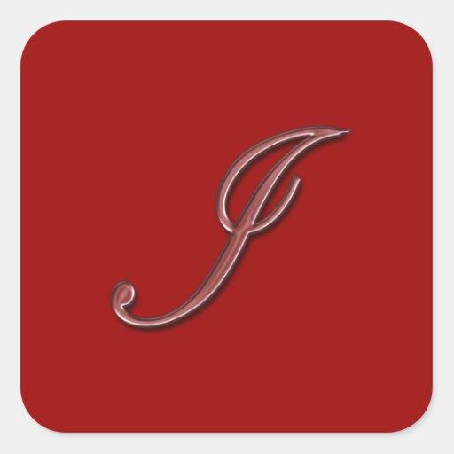 Elegant glass monogram letter i square sticker zazzle for Stick on letters for glass
