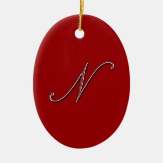 Elegant Glass Monogram Letter N Ceramic Ornament