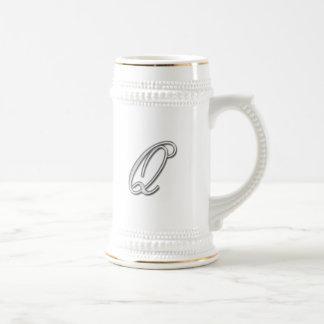 Elegant Glass Monogram Letter Q Beer Stein