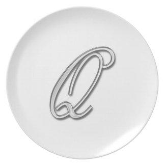 Elegant Glass Monogram Letter Q Plate
