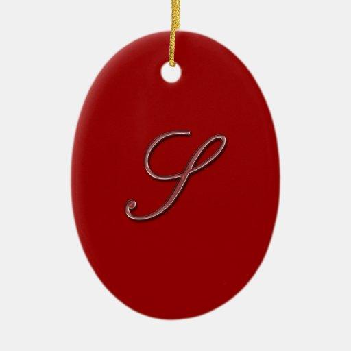Elegant Glass Monogram Letter S Ceramic Ornament