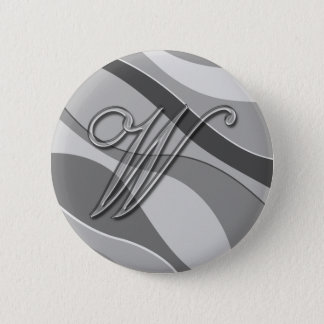 Elegant Glass Monogram Letter W Pinback Button