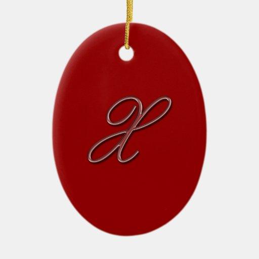 Elegant Glass Monogram Letter X Double-Sided Oval Ceramic Christmas Ornament