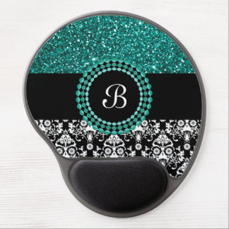 Elegant Glitter and Damask Pattern with Monogram Gel Mouse Pad