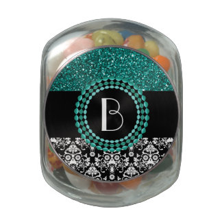 Elegant Glitter and Damask Pattern with Monogram Glass Candy Jars