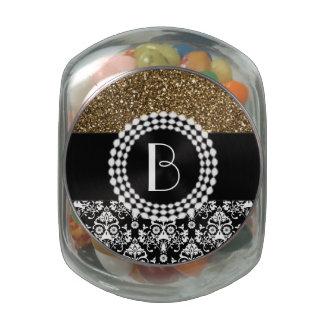 Elegant Glitter and Damask Pattern with Monogram Glass Jar