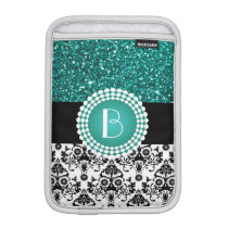 Elegant Glitter and Damask Pattern with Monogram iPad Mini Sleeve
