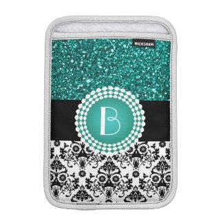 Elegant Glitter and Damask Pattern with Monogram iPad Mini Sleeve