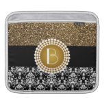Elegant Glitter and Damask Pattern with Monogram Sleeves For iPads
