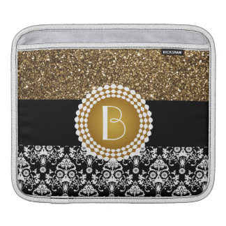 Elegant Glitter and Damask Pattern with Monogram iPad Sleeve