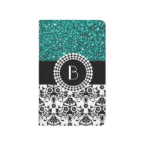 Elegant Glitter and Damask Pattern with Monogram Journal