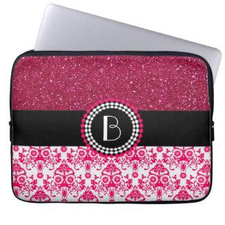 Elegant Glitter and Damask Pattern with Monogram Laptop Sleeves