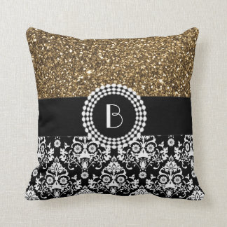 Elegant Glitter and Damask Pattern with Monogram Throw Pillow