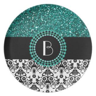 Elegant Glitter and Damask Pattern with Monogram Dinner Plate