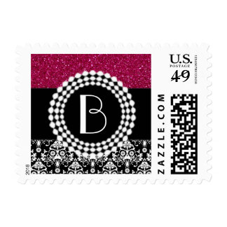 Elegant Glitter and Damask Pattern with Monogram Postage
