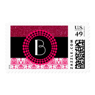 Elegant Glitter and Damask Pattern with Monogram Postage Stamp